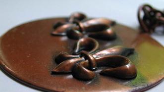 VINTAGE Signed REBAJES Copper Medallion PENDANT w Chain