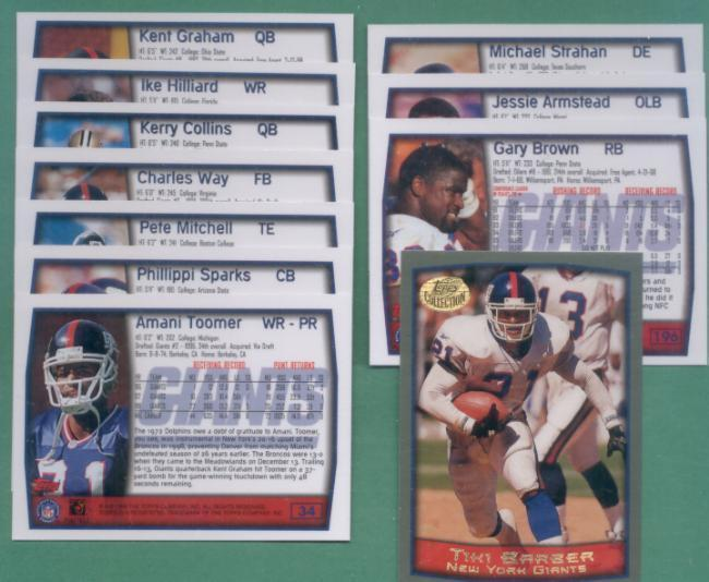 1999 Topps New York Giants Football Team Set