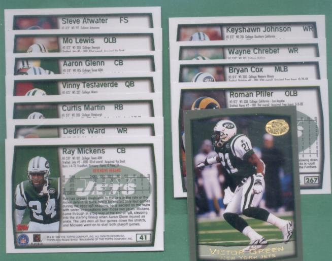 1999 Topps New York Jets Football Team Set