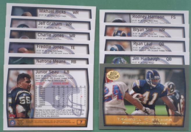 1999 Topps San Diego Chargers Football Team Set