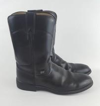 Justin Basics JB3000 9.5D Pull On Western Cowboy Work Roper Leather Boot - $37.39