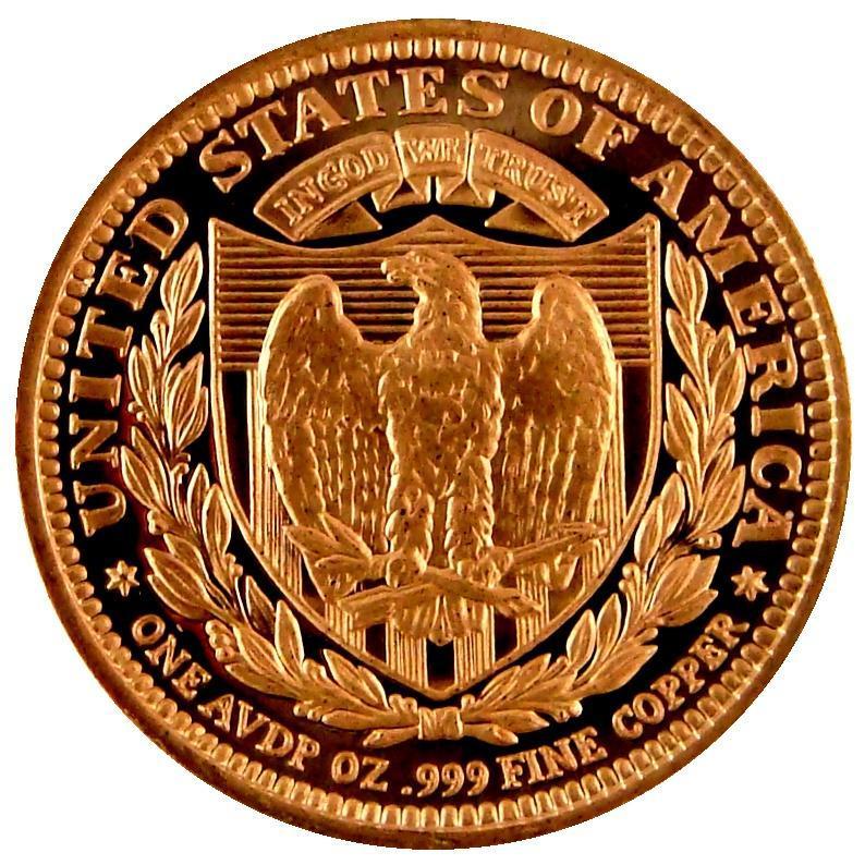 (5) AVDP Oz.999 Fine Copper  Design  Liberty  1REFCO