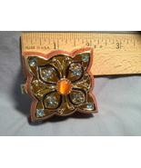 Gold tone Blue Crystal/Enamel Orange Decorative Box - $34.99