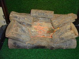 Vintage MCM Firelogs, Inc Fake Fireplace Log Insert w/ Rotating Lamp Sha... - $76.21