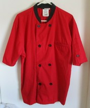 Men's Red LIGHTWEIGHT Double Breasted Chef Coat Plastic Buttons Poly/Cot... - $14.85