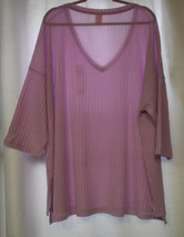 NEW WOMENS PLUS SIZE 2X FADED GLORY  VIOLET  3/4 SLEEVES HACCI SWEATER K... - $17.41