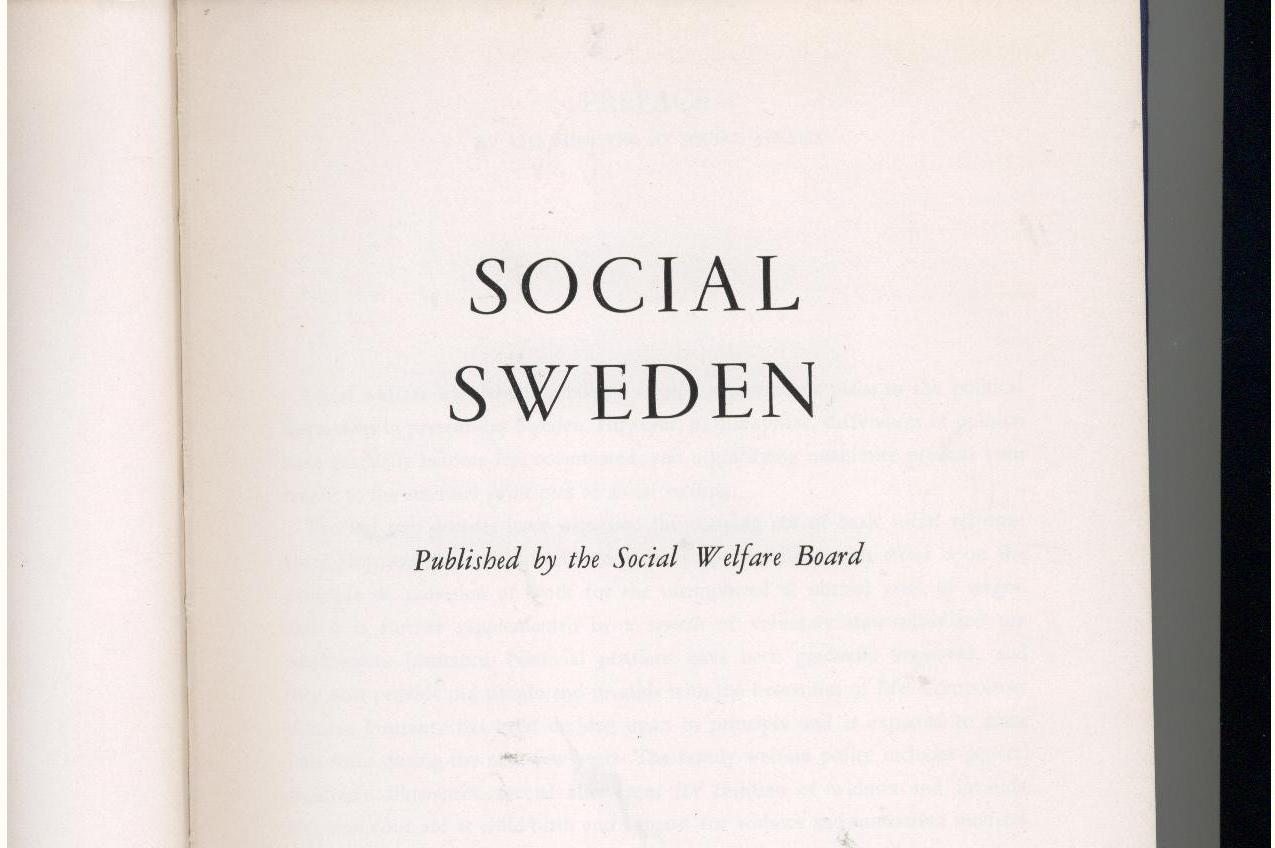 SOCIAL SWEDEN - 1952 - 1st, in English - heavily illustrated