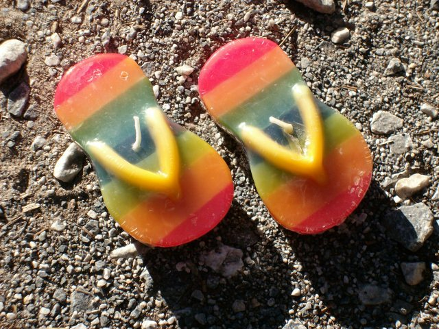"Colorful ""Pair O' Flip Flops"" Candles - Set of Two (2) - Brand New In Package!"