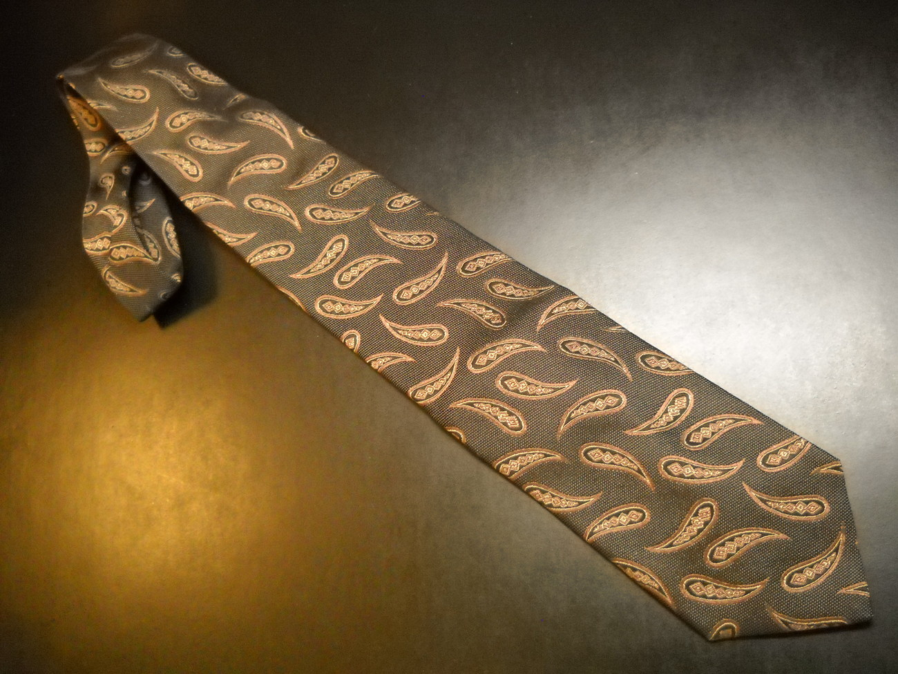 Joseph Abboud Neck Tie Dark Brown with Brown Golden Paisleys Made in Italy Silk