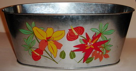 Oval Galvanized Tin Orchids Planter - $5.00