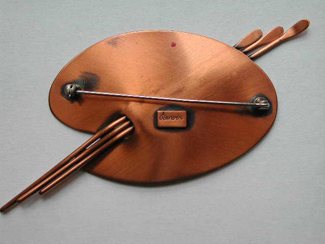 VINTAGE SIGNED RENOIR Copper Brooch / Pin PALETTE