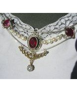 3 Top Red Ruby Pearl Yellow Gold Necklace .55 Diamond Accent - $1,359.00