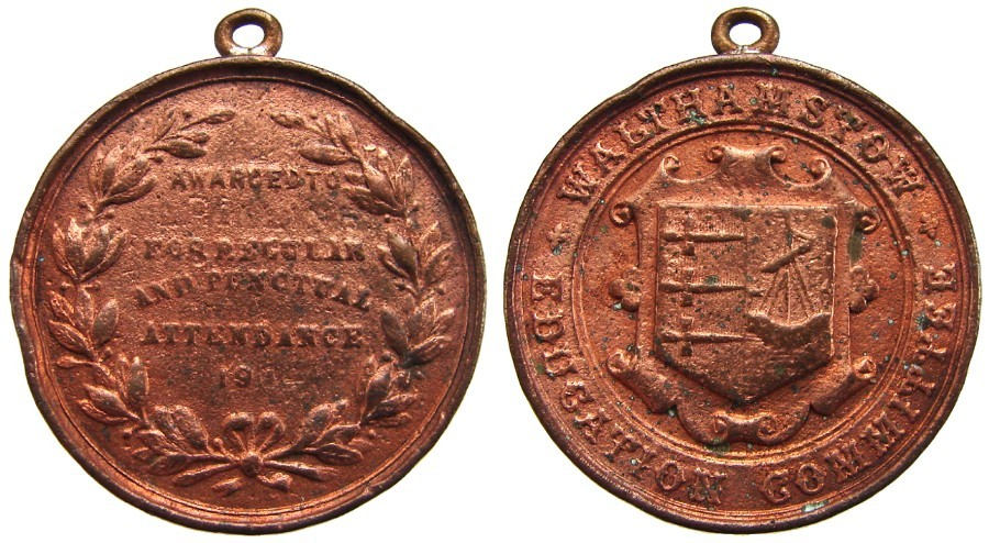 1907 BRITISH WALTHAMSTOW EDUCATION COMMITTEE ATTENDANCE BRONZE MEDAL