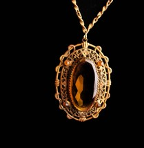 Antique Czech necklace - Victorian snake design - Vintage yellow faceted... - $155.00