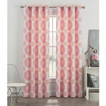 "Newport Blush Pink Medallion Grommet Window Curtain 63"" Pair Panels Cotton - $79.08"
