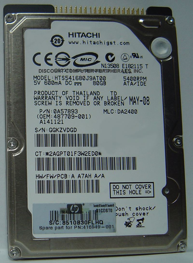 80GB 5400RPM IDE 44PIN 9.5MM 2.5IN DRIVE HITACHI HTS541680J9AT00 Free USA Ship