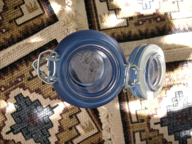 Dark Blue Glass Jar 2-Piece Set with Locking Lids & Gaskets - Great Items, NEW!