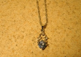 NECKLACE WOMENS GEMSTONE FAUX BLUE TOPAZ SOLITAIRE #272 - $9.99