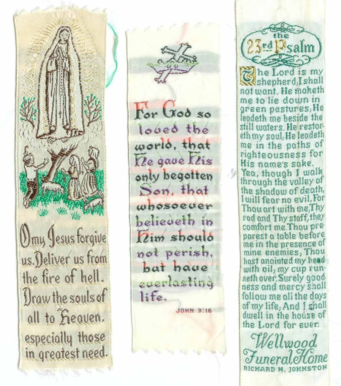 5 Religious Bookmarks Vintage ca. 1950 Set B
