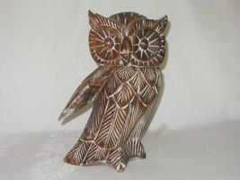 Large Hand Carved Wood Owl Figurine Vtg Folk Art Rustic Sculpture Statue - $49.49