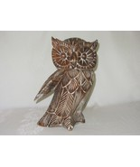 Large Hand Carved Wood Owl Figurine Vtg Folk Art Rustic Sculpture Statue - $49.49