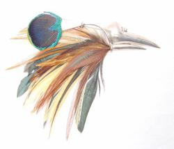 STERLING & FEATHER UNUSUAL BIRD PIN - $55.00