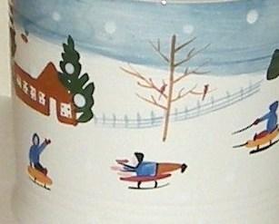 Bath and Body Works Holiday 1997 Snowman Sledding Big Ceramic Mug