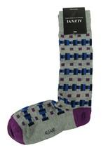 New Mens Alfani Seamless Geo Light Grey Heather Crew Dress Socks 10-13 - $3.46