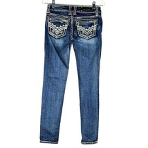L.A. Idol Skinny Leg Jeans Women's Medium Wash Blue Denim Embellished 1 - $34.64