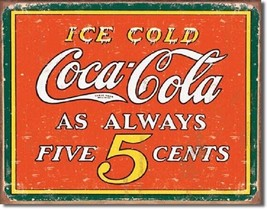 Coca Cola Coke Always 5 Cent Advertising Vintage Retro Wall Decor Metal ... - $15.99