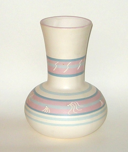 Hopi Pottery Hand Painted Striped Etched Vase Pink Blue White New