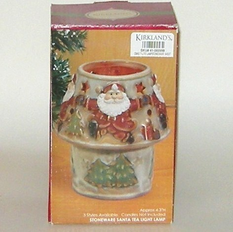 Kirklands Christmas Santa Tea Light Lamp Stoneware in Box