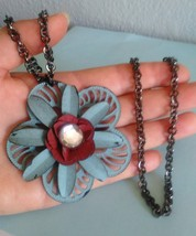 FLOWER NECKLACE Large, Necklace Statement jewelry, Bohemian Necklace cha... - $22.00