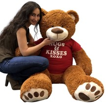 5 Foot Giant Teddy Bear 60 Inch Cinnamon Brown Color Wears HUGS & KISSES... - $127.11