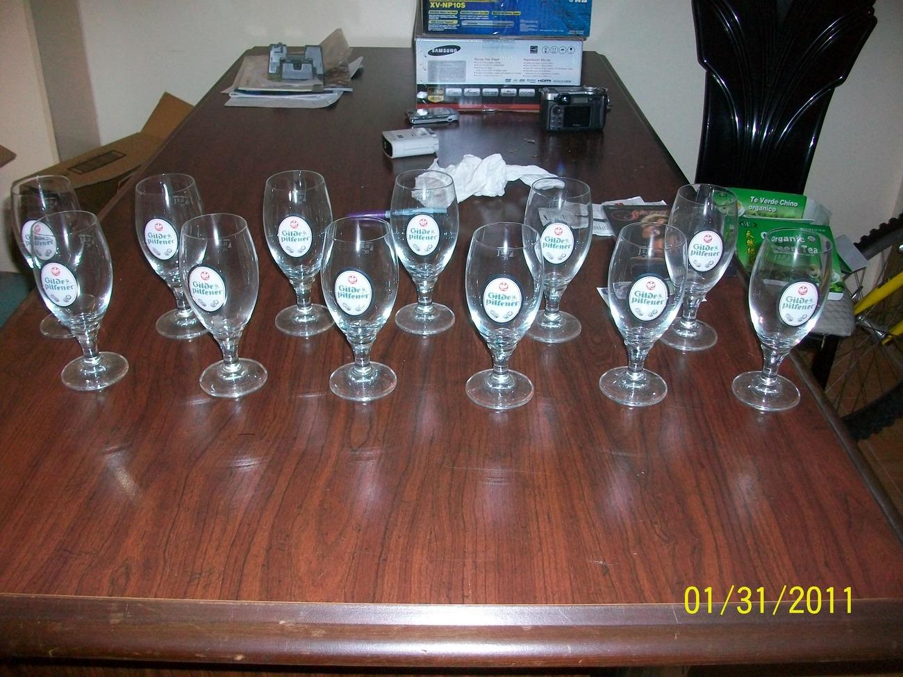 GLIDE PILSNER PREMIUM LAGER GERMAN BEER GLASSES - SET OF 12  NEW, 8 OZ