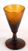 Antique Dark Amber Swirl Glass Glassware Stemware - $20.00