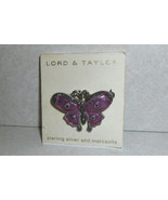 Lord Taylor 925 Sterling Silver Marcasite Butterfly Pin - $22.85