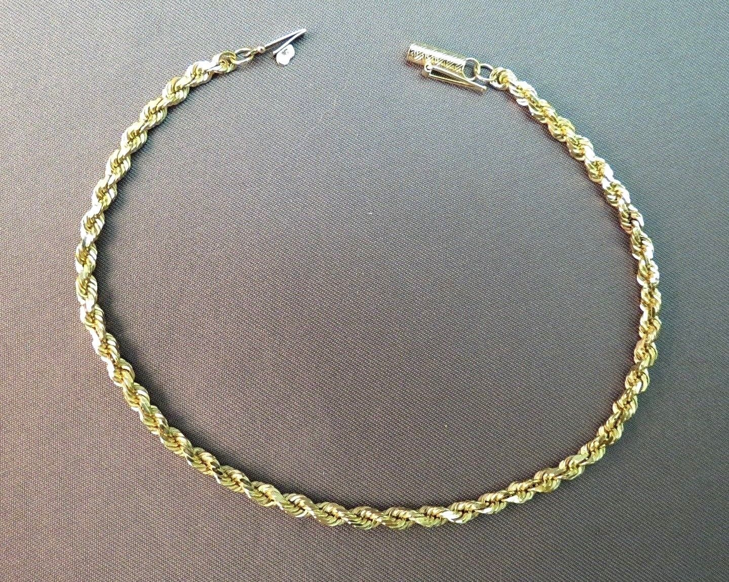 """10k Yellow Gold Bracelet Rope Chain 5.62g Michael Anthony MA Gold 3mm Wide 8.5"""""""