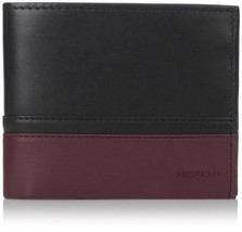 NEW TOMMY HILFIGER MEN'S LEATHER DOUBLE BILLFOLD WALLET BLACK OXBLOOD 31TL13X041