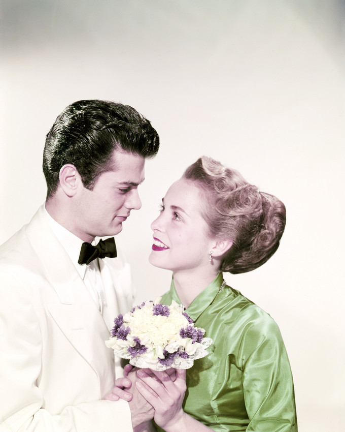 Primary image for Tony Curtis Janet Leigh with Flowers 1950's 16x20 Canvas