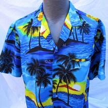 Vintage Royal Creations Hawaiian Aloha Shirt Size Large Sunset Palm Tree... - $32.99