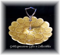 Vintage usa Pottery Gold Candy Nut Dish  Retro Circles - $7.95