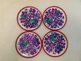 Vintage Mid Century Floral Pierced Tin Coasters Set of 8 - $18.00