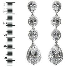 Pave Clear Cz Halo Teardrop Dangle Rhodium Earrings - $98.01