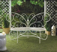 White Metal BUTTERFLY Outdoor Patio Garden Loveseat Bench  - $168.25