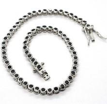 Bracelet Tennis, Argent 925, Zirconia Cubique Noirs, Taille Brillant, 3 MM image 2