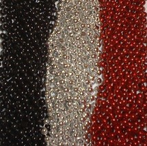 36 Red Silver Black Mardi Gras Beads Necklaces Party Favors 3 Doz Pirate... - $18.46 CAD