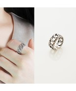 Hand Finished Chain Knot Adjustable Ring Diagonal Line 925 Sterling Silv... - $32.71