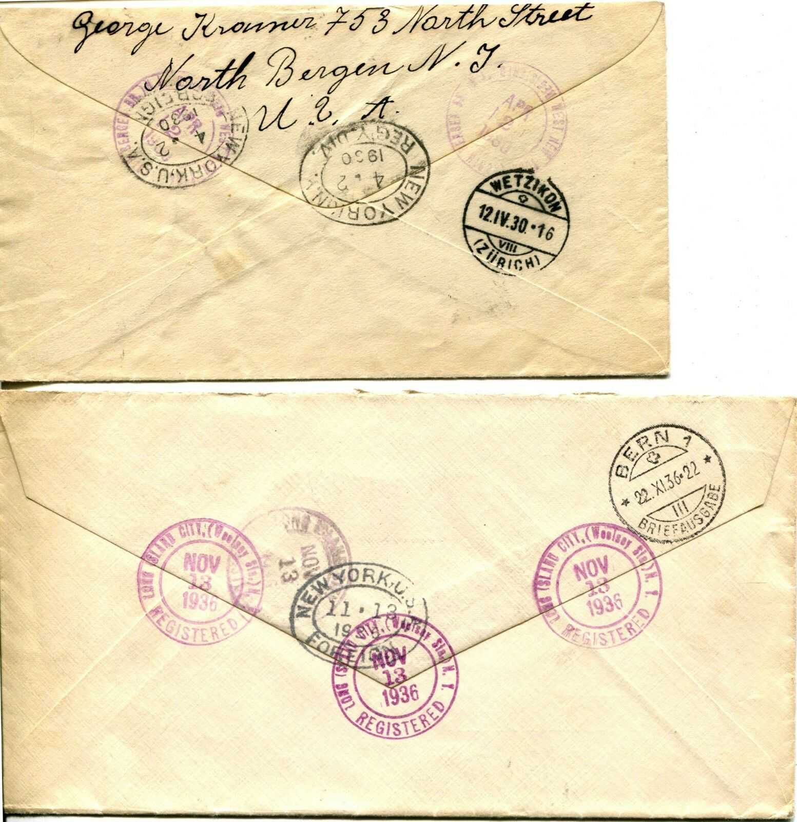 20c REGISTERED USA to SWITZERLAND Envelope Cover Collection Stamps Postage