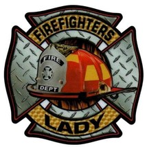 FIREFIGHTERS LADY Highly Reflective Full Color Diamond Plate Decal image 3